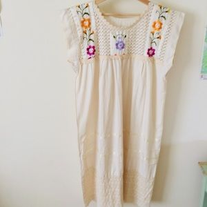 Mexican linen embroidered dress